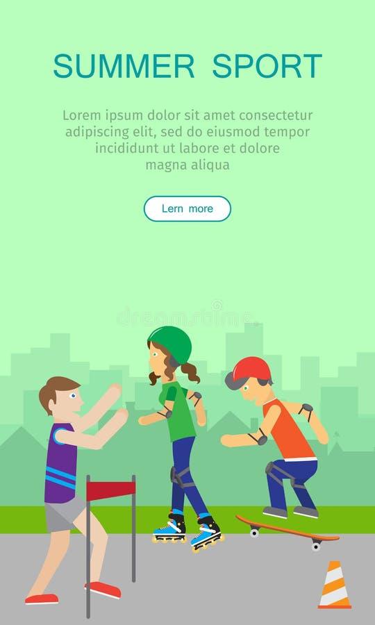 Dzieci Iść wewnątrz dla sport sieci sztandaru plakata ilustracja wektor