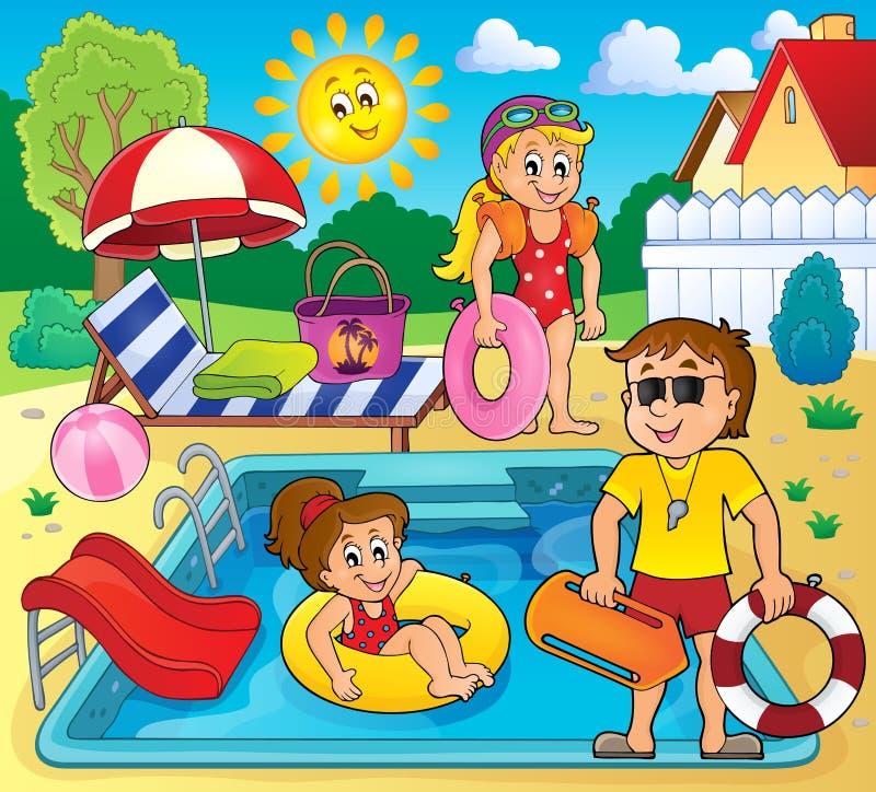 Dzieci i życie strażnik basenem ilustracja wektor