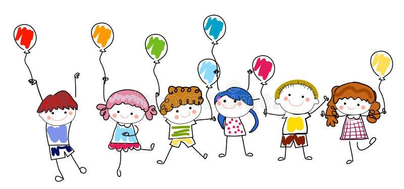 Dzieci i balon ilustracji