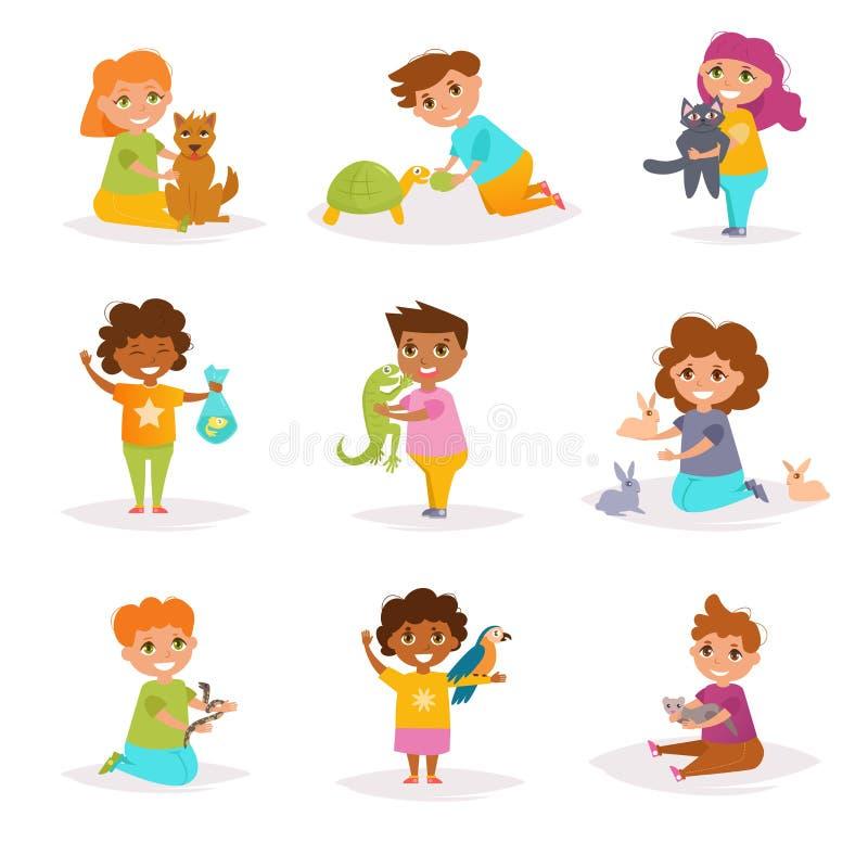 Dzieci i ich zwierzęta domowe wektor kreskówka ilustracja wektor