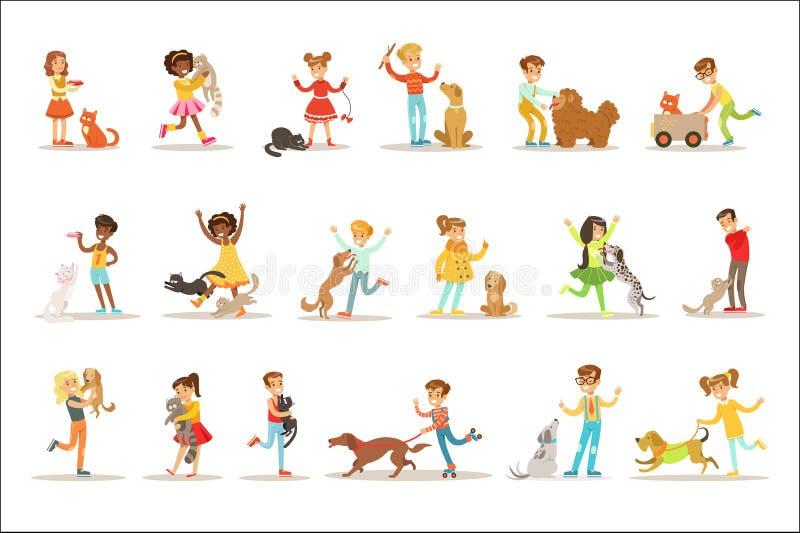Dzieci I kotów ilustracje Ustawiać Z dzieciakami ilustracja wektor