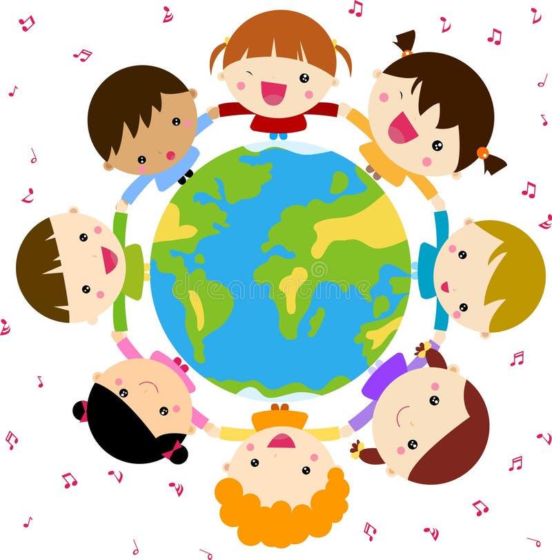 Dzieci i kula ziemska royalty ilustracja