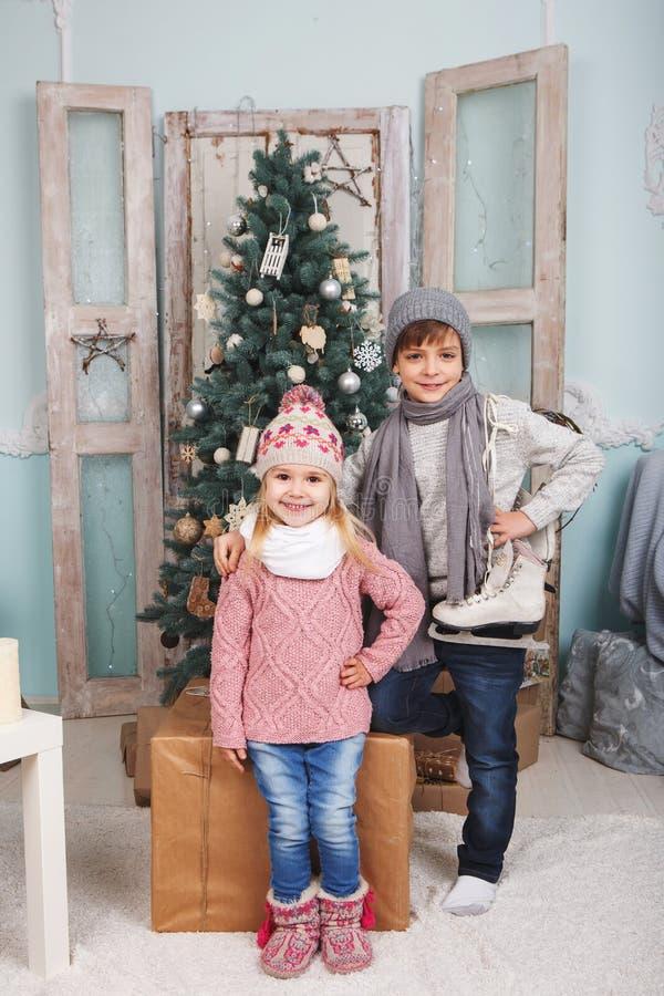 Dzieci i nowego roku nastrój fotografia stock