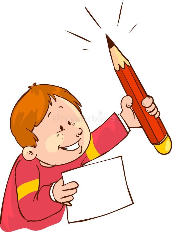 Download Dzieci i ołówek ilustracja wektor. Ilustracja złożonej z wyjaśnienie - 53792471