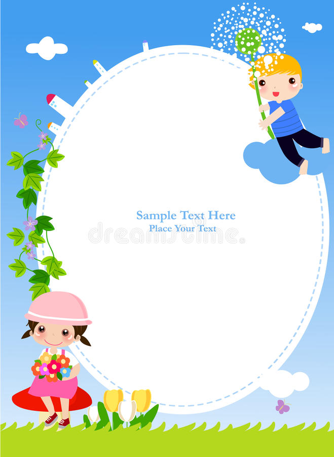Dzieci i rama royalty ilustracja