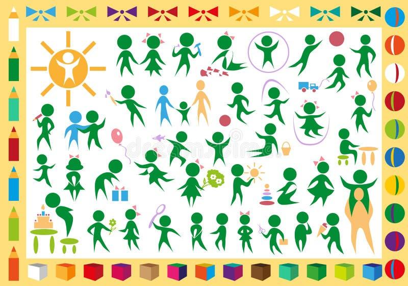 Dzieci i zabawek ikony ilustracja wektor
