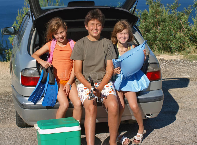 dzieci idą wakacje fotografia stock