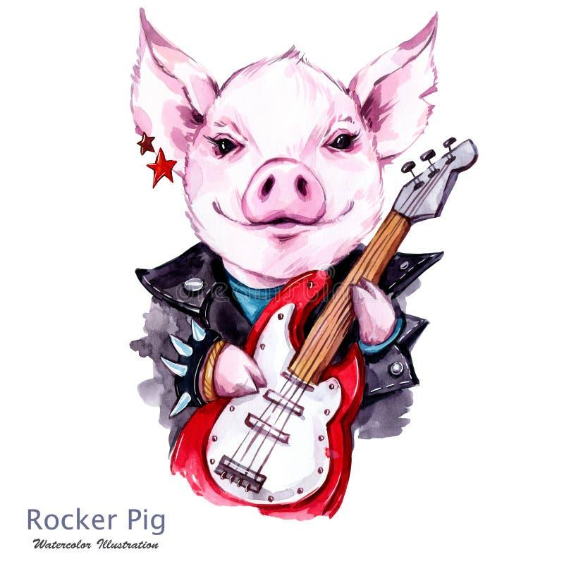 Dzieci ilustracyjni Akwarela bujaka świnia w kurtce z gitarą elektryczną Śmieszna gitarzysty ruchu punków muzyka Symbol 2019 ilustracja wektor