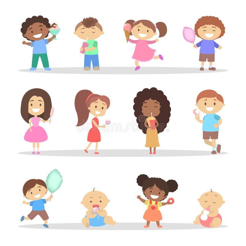 Dzieci je cukierki Dziewczyna i chłopiec z deserem ilustracja wektor