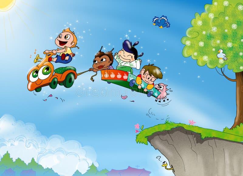 dzieci jechać royalty ilustracja