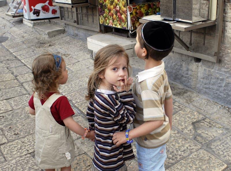 dzieci Jerusalem żydowski fotografia royalty free