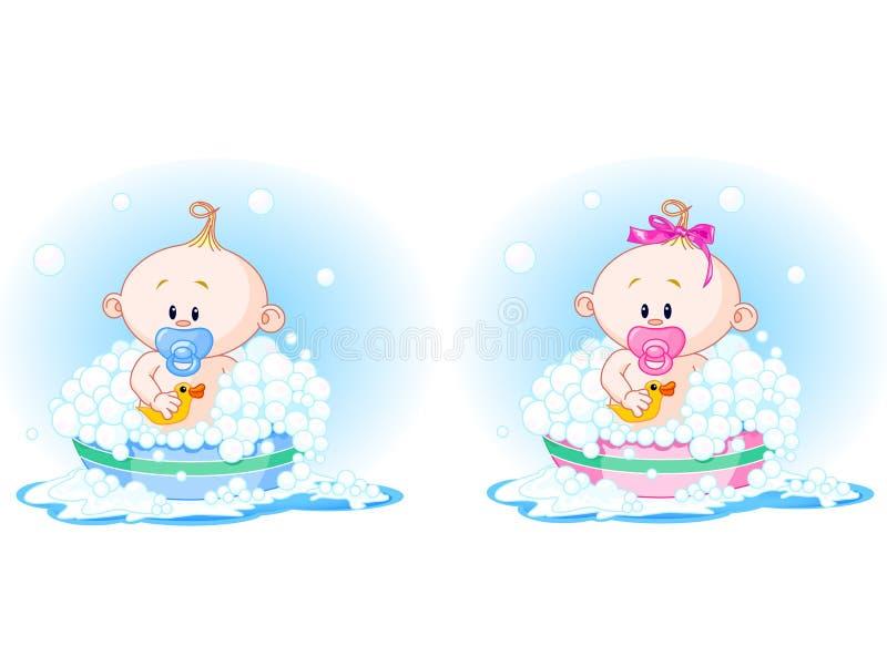 dzieci kąpać się zabranie ilustracja wektor