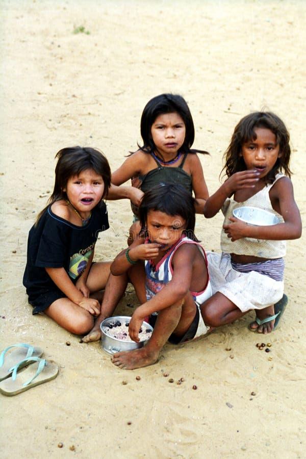 Dzieci Kaapor, Brazylia rodzimy hindus obraz stock
