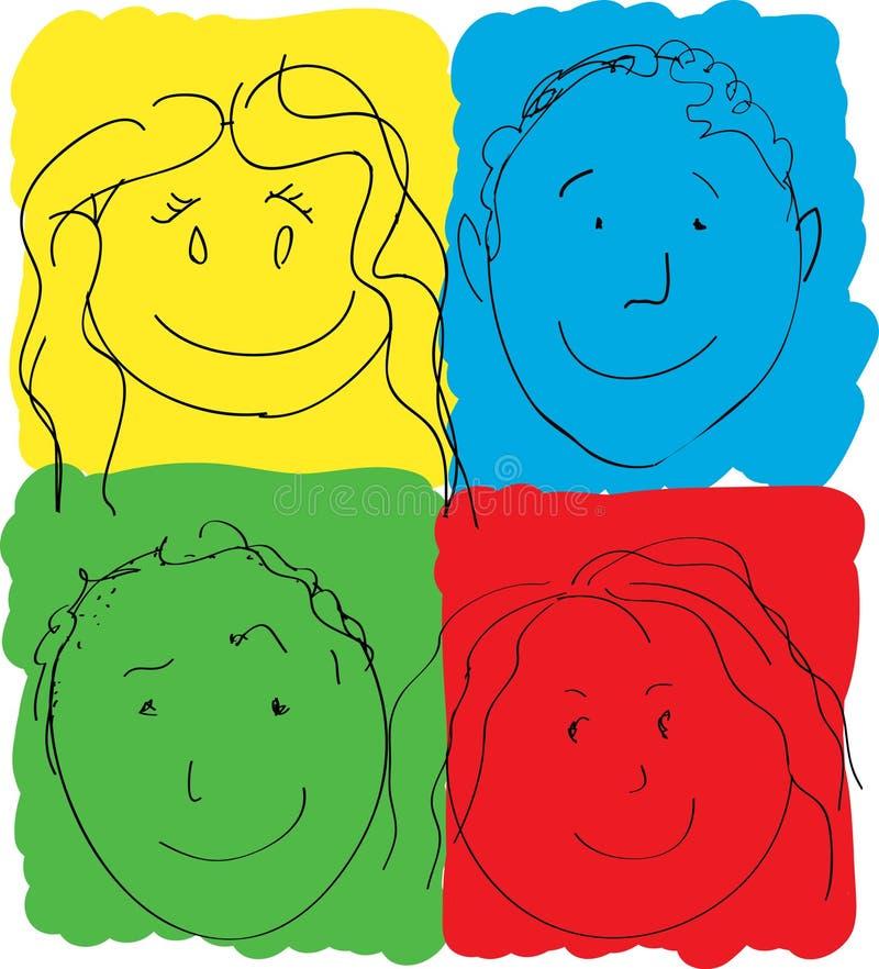 dzieci kolorów twarzy prasmoła s royalty ilustracja