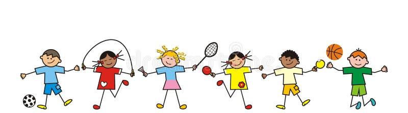 Dzieci, linia ilustracja wektor