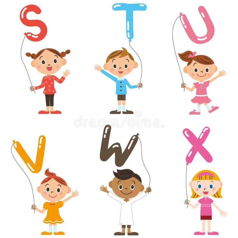 Dzieci ma balon, abecadło ilustracja wektor
