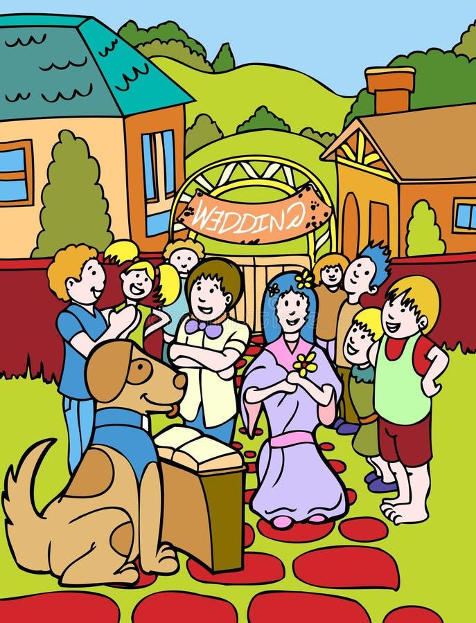 dzieci ma udają ślub royalty ilustracja