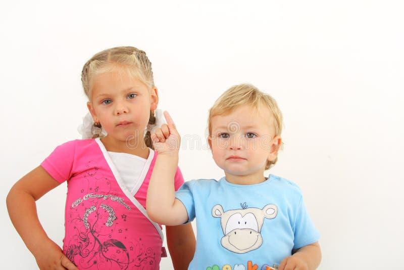 dzieci mali dwa obrazy royalty free