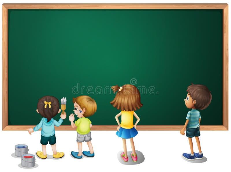 Dzieci maluje na blackboard royalty ilustracja