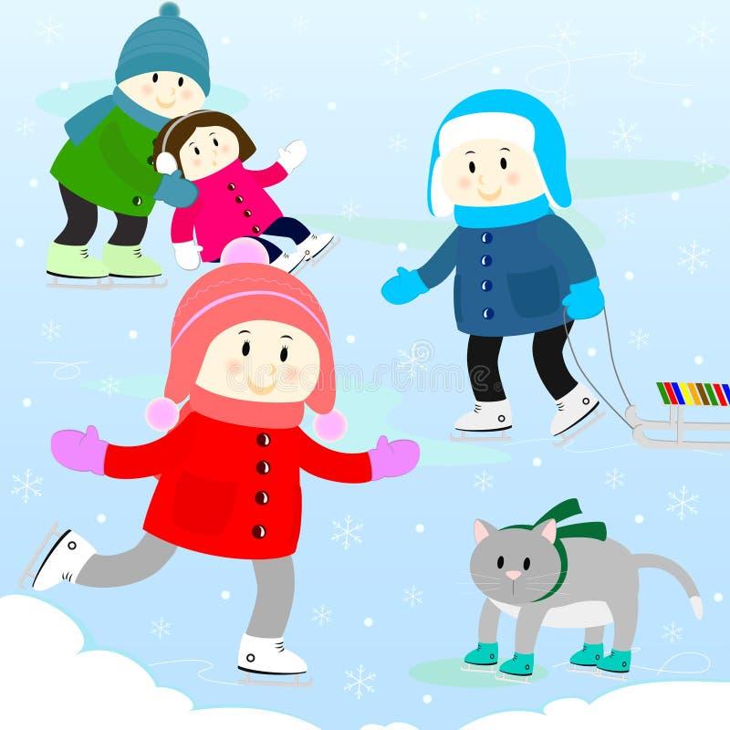 Dzieci na łyżwiarskim lodowisku ilustracja wektor