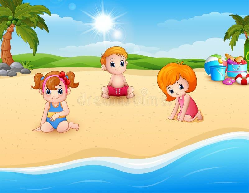 dzieci na plaży grać royalty ilustracja
