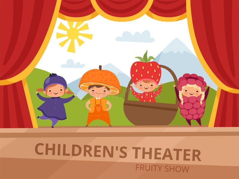 Dzieci na scenie Dzieciaki w owocowych kostiumach wykonują przy szkoły przyjęciem ilustracja wektor