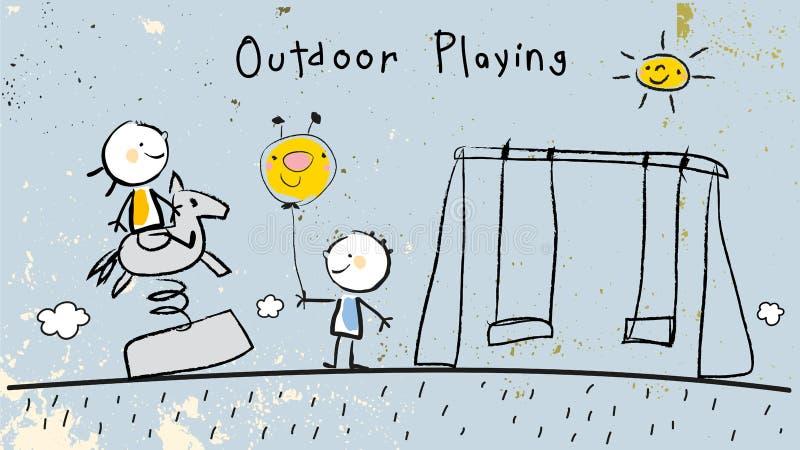 dzieci na zewnątrz gra ilustracji