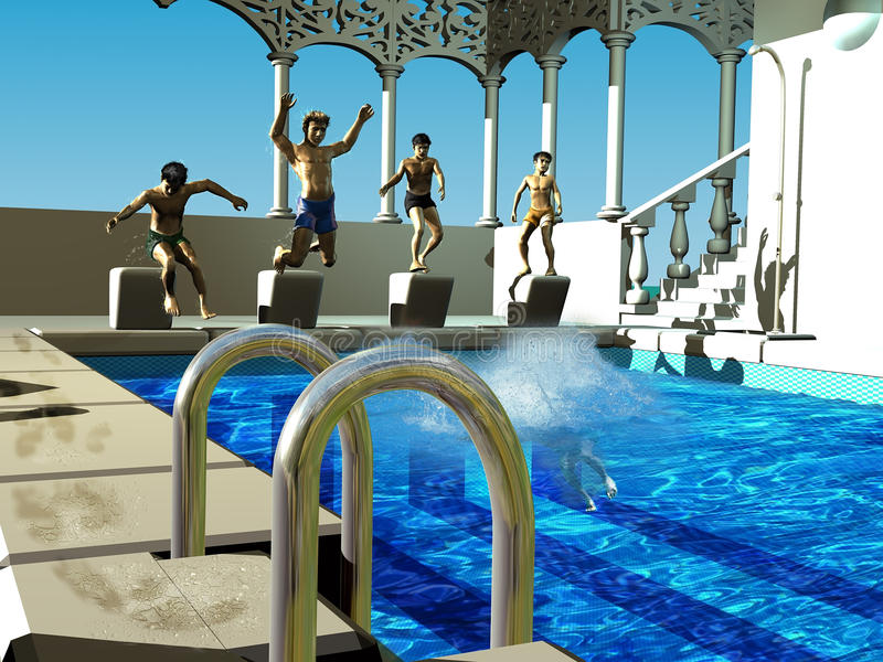 Dzieci nurkuje w pływackiego basen ilustracji