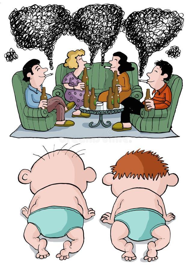 Dzieci oglądają ich alkoholicznych rodziców royalty ilustracja