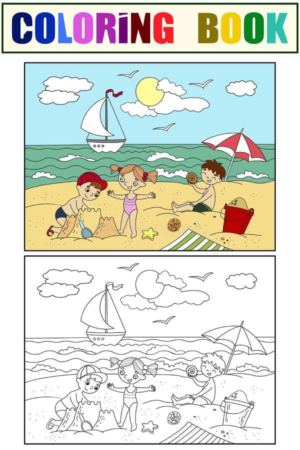 Dzieci pływa przy sztuką z zabawkami ilustracyjnymi i plażą Morze, plaża, dzieciaki, zabawka, ptak, piasek, lody i lato, ilustracji
