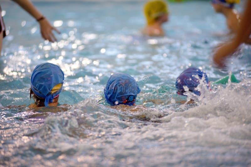 Dzieci pływa rywalizację w basenie, sztafetowa rasa zdjęcie stock