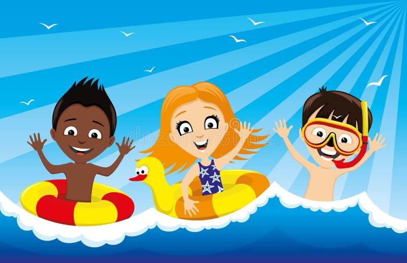 Dzieci pływają w wodzie royalty ilustracja