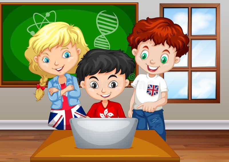 Dzieci patrzeje komputer w sala lekcyjnej ilustracja wektor