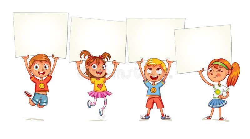 Dzieci podnoszą w górę plakata