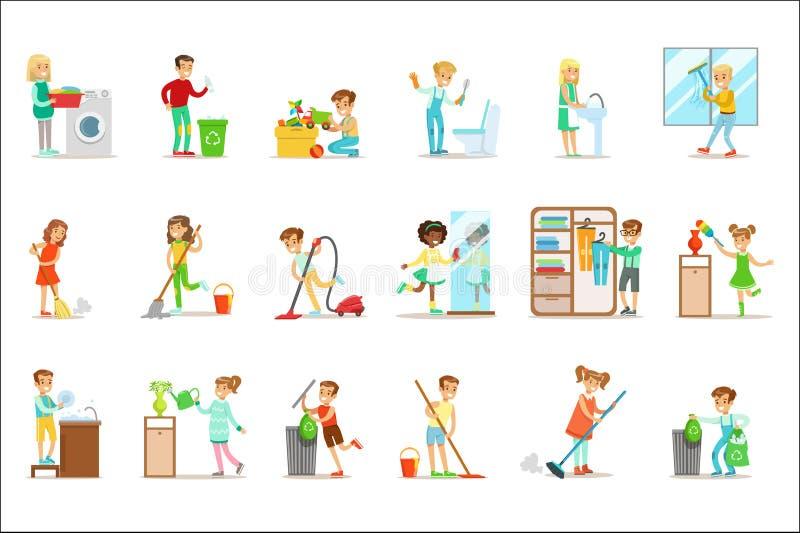 Dzieci Pomaga Z Domowym Cleanup, Myje Podłogowego, Rzuca Out śmieci I Nawadnia rośliny, royalty ilustracja