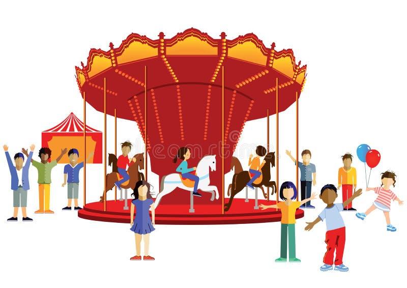 Dzieci przy jarmarkiem ilustracji
