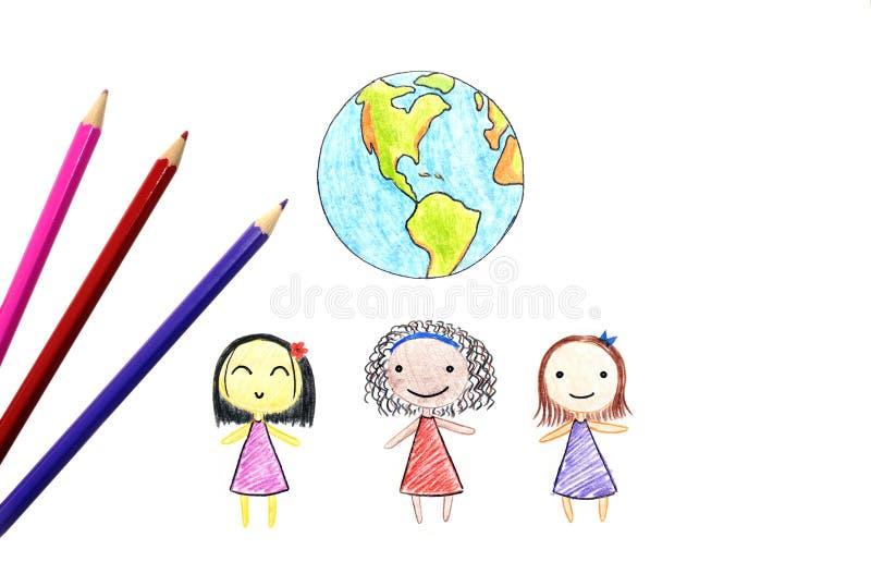 Dzieci różne narodowości i ziemia zdjęcia stock