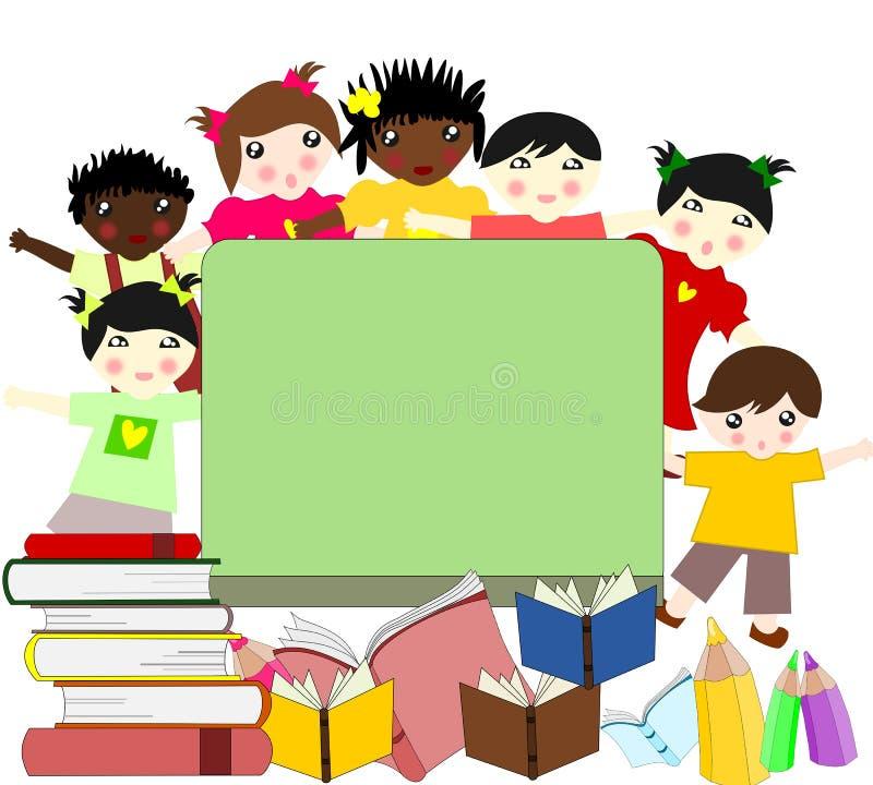 Dzieci różne rasy blisko zarządu szkoły ilustracja wektor