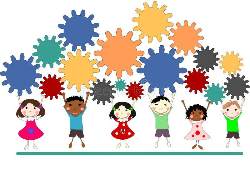 Dzieci różne rasy z przekładniami, pracy zespołowej pojęcie, royalty ilustracja