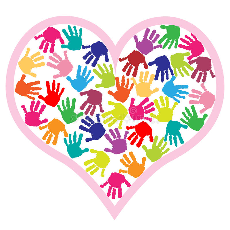 dzieci ręki serca druki ilustracja wektor