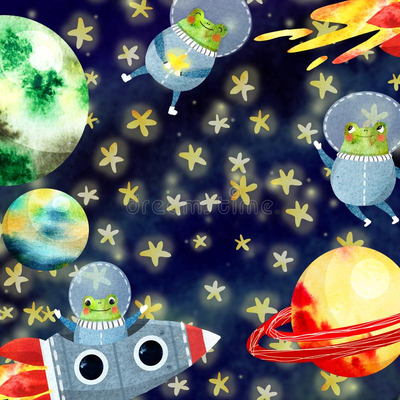 Dzieci ramowi z planetami ilustracji
