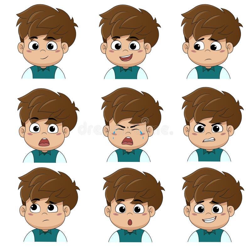 Dzieci robią twarzy dużo emocje tak jak uśmiech, szczęśliwy, śmiech, smutny, niespodzianka, płacz, łzy, spęczenie, gniewny, główk royalty ilustracja