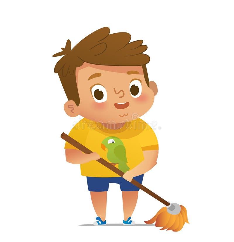 Dzieci robi gospodarstwo domowe rutynom - chłopiec mopping podłoga Pojęcie angażuje edukacyjne aktywność Montessori ilustracja wektor