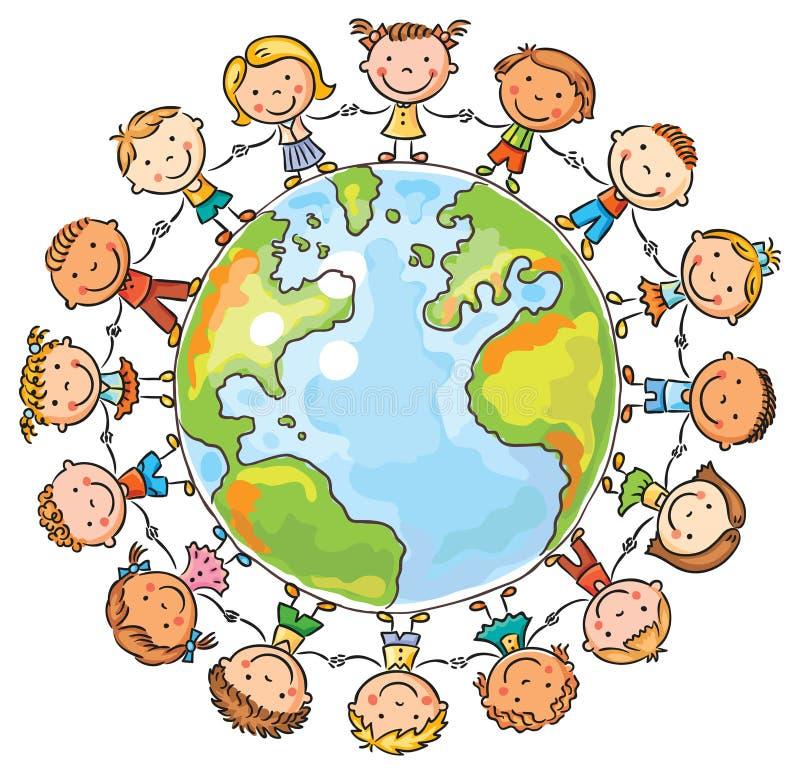 Dzieci round kulę ziemską ilustracji