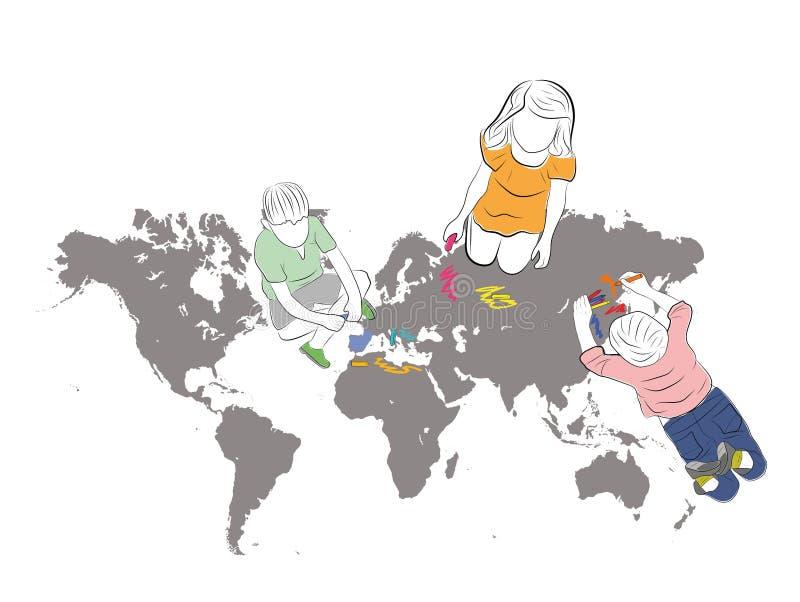 Dzieci rysują mapę ziemia z barwionymi ołówkami również zwrócić corel ilustracji wektora ilustracji