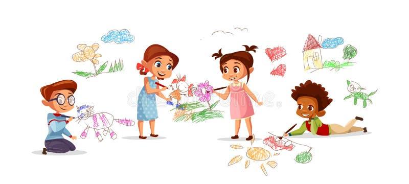 Dzieci rysuje ołówkową obrazka wektoru ilustrację ilustracji