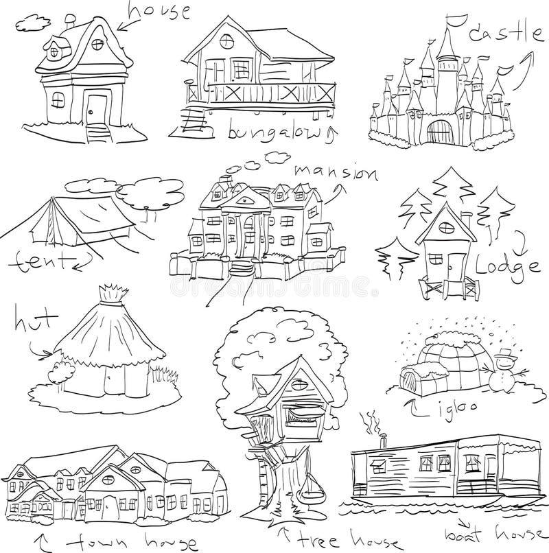 Dzieci rysuje ustalonego doodle siedlisko ilustracji