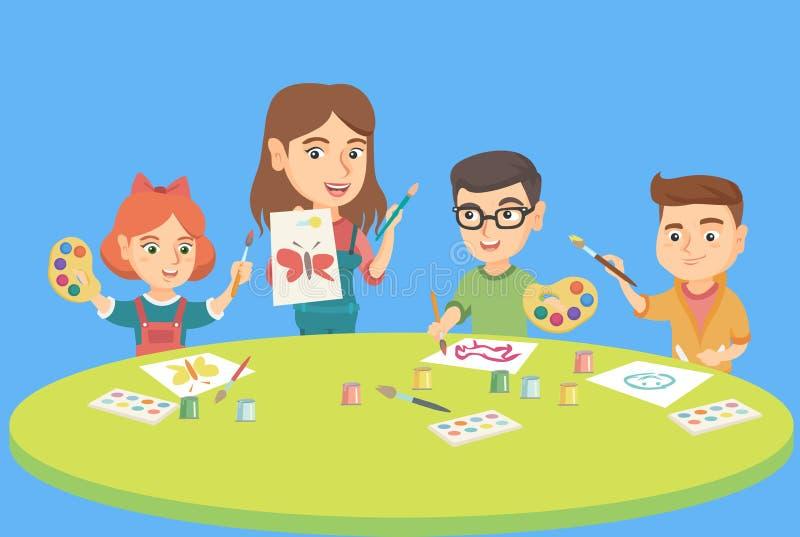 Dzieci rysuje z nauczycielem przy preschool klasą royalty ilustracja