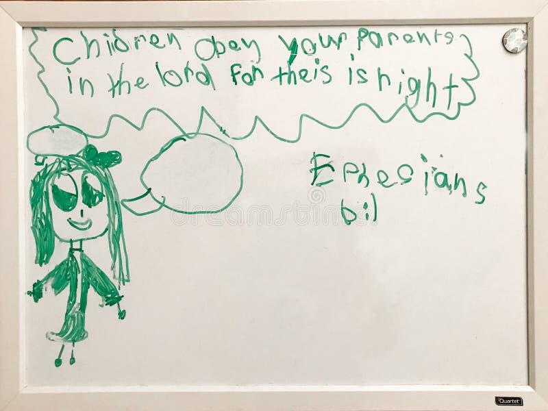 Dzieci Słuchają Twój rodziców rysuje dzieckiem fotografia stock