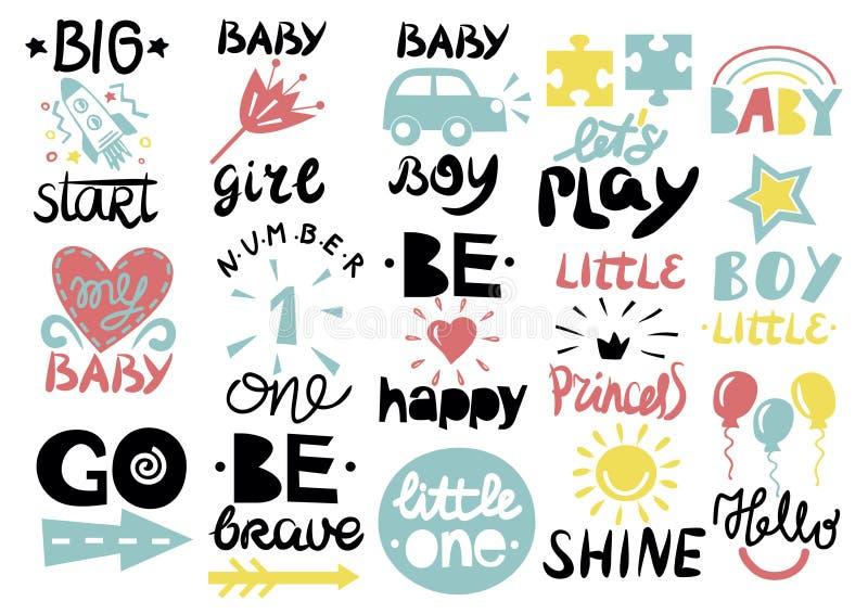 15 dzieci s logo z handwriting Trochę jeden, Cześć dziecko, połysk, dziewczyna, chłopiec, Był odważny, szczęśliwy, IŚĆ, Duży pocz ilustracji